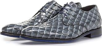 Floris Van Bommel Grauer Premium Schnürschuh mit Print, Business Schuhe, Designer Schuh, Handgefertigt