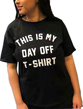21Fashion Womens This is My Day Off T-Shirt Slogan Printed T Shirt Short Sleeve Party Top Black UK 12-14