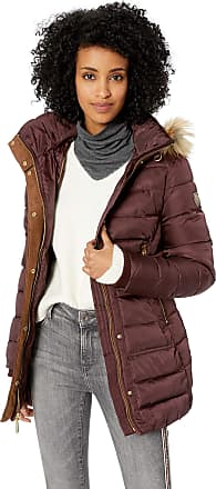 Vince Camuto Womens Puffer Jacket Down Coat, Wine, Large