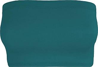 Janisramone Womens Ladies New Plain Boob Tube Strapless Bandeau Stretch Soft Elastic Vest Bra Crop Top Teal