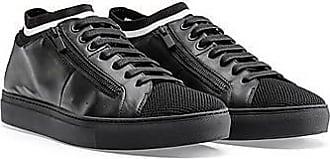 HUGO BOSS Sneakers aus Nappaleder im Tennis-Stil mit Strickeinsatz