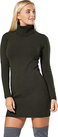 Zeta Ville Glamour Empire. Womens Stretch Warm Polo Turtle Roll Neck Knitted Dress. 888 (Khaki, ONE Size UK 8/10/12, ONE Size)