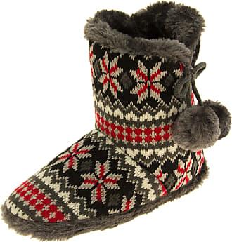 Footwear Studio Womens Coolers Dk Grey Knitted Faux Fur Slouch Slipper Boots UK 3-4