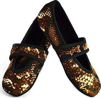 Nufoot Betsy Lou Womens Shoes, Best Foldable & Flexible Flats, Slipper Socks, Travel Slippers & Exercise Shoes, Dance Shoes, Yoga Socks, House Shoes, Indoor Slippers, Gold Snake, X-Large