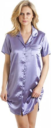 Camille Womens Knee Length Satin Nightshirt 12 Lilac