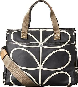 Orla Kiely Womens Matt Laminated Linear Stem Small Zip Messenger Canvas and Beach Tote Bag Multicolour (Black+Cream)