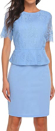 Zeagoo Womens Formal Business Round Neck Short Sleeve Lace Patchwork Party Bodycon Midi Dress Light Blue