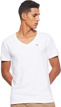 Tommy Jeans Mens Original Jersey Short Sleeve V-Neck T-Shirt, White (Classic White 100), Medium