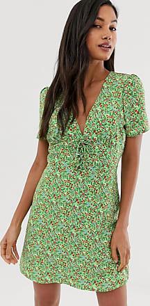 Fashion Union Småblommig miniklänning med knytning framtill-Grön