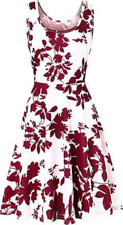 QUINTRA Women Summer Vintages Sleeveless Beach Bohe Casual Floral Tank Short Mini Dress (XL, Red)