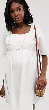 Asos Maternity ASOS DESIGN Maternity denim smock dress with frill in white