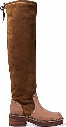 8413790653c See By Chloé See By Chloé Woman Leather-paneled Suede Over-the-knee