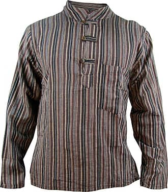 Gheri Mens Striped Cotton Light Grandad Shirt Kurtas Brown XX-Large