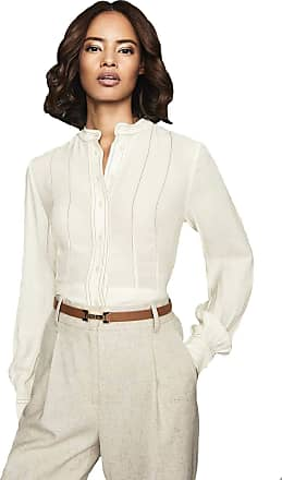 Reiss Ladies Designer Grandad Collar Long Sleeve Shirt Blouse, Cream RRP £135 Size 4-14 (12)