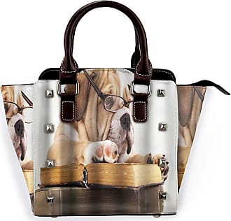 Browncin Pug Dog Cute Animals With Glasses Reading Book Detachable Fashion Trend Ladies Handbag Shoulder Bag Messenger Bags