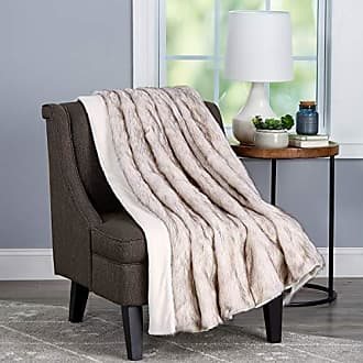 Trademark Bedford Home Throw-Luxurious, Soft, Hypoallergenic Premium Fashion Wolf Fur Blanket with Faux Mink Back and Gift Box, 60x70, Pearl White