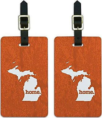 Graphics & More Graphics & More Michigan Mi Home State Luggage Suitcase Id Tags-Textured Orange, White