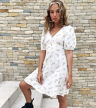 New Look Petite puff sleeve mini linen tea dress in pale pink floral