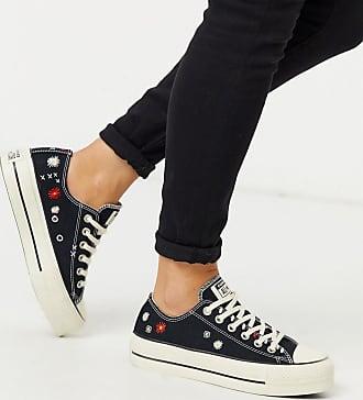 Converse Chuck Taylor Lift - Sneakers met plateauzool en geborduurde bloemen in zwart