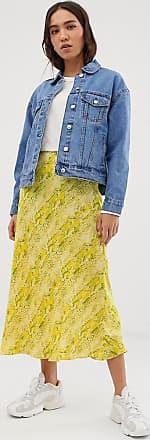 Whistles snake print bias cut midi skirt-Yellow