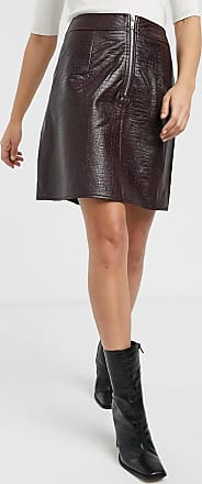 Warehouse croc faux leather skirt co-ord in berry-Purple
