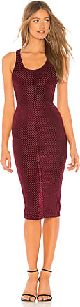 Superdown Shay Chevron Bodycon Dress in Burgundy