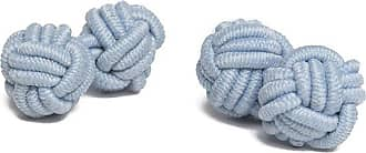 Jacob Alexander Pair of Solid Color Silk Knot Cufflinks - Baby Blue