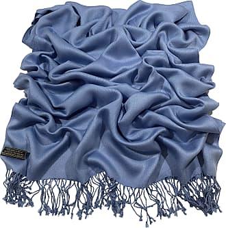 CJ Apparel Denim Blue Solid Colour Design Nepalese Tassels Shawl Scarf Wrap Pashmina Seconds NEW(Size: One Size)