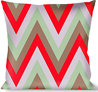 Buckle Down Pillow Decorative Throw Zig Zag White Tan Gray Red