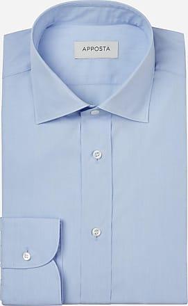 Apposta Shirt solid cyan 100% pure cotton fil-à-fil, collar style semi-spread collar