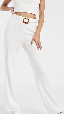 Missguided Tall Gerippte Hose mit Gürtel in Weiß, Kombiteil