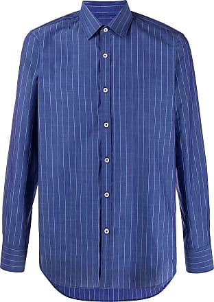 Canali Camisa risca de giz - Azul