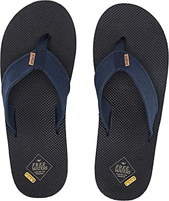 Freewaters Mens Supreem Legacy Flip Flop Sandal w/Arch Support/Vegan Materials/Canvas Strap, Navy 13 Medium US