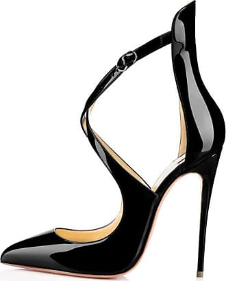 EDEFS Womens Pointed Toe Ankle Strap Court Shoes Cut Out Cross Strap High Heel Pumps Black EU38