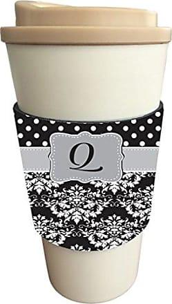 Rikki Knight InitialQ Grey Black Damask Dots Design Latte Beverage Insulator, Black