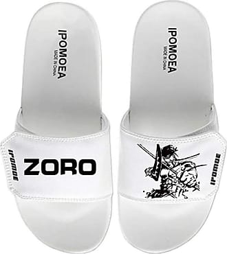 Cosstars One Piece Unisex Anime Slippers Open Toe Sandals Adjustable Hook and Loop 4 / White 280 MM