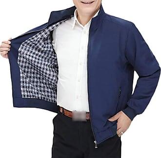 H&E Men Thicken Quilted Zip Fleece Stand Neck Business Jacket Anoraks Parka Coat Dark Blue XL
