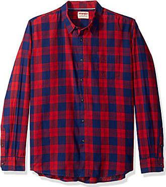 Wrangler Authentics Mens Long Sleeve Premium Plaid Shirt, blueprint, L