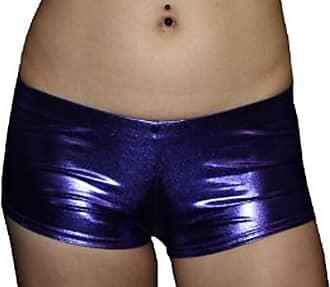 Insanity Sexy Wet Look Metallic Hot Pants/Shorts (M/L) Purple
