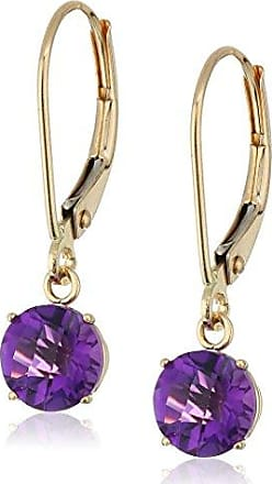 Amazon Collection 10k Yellow Gold Round Checkerboard Cut Amethyst Leverback Earrings (6mm)