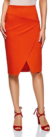 oodji Womens Jersey Skirt with Diagonal Cut, Red, UK 12 / EU 42 / L