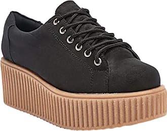 Truffle Dino 01 Black Creepers Lace Up Platforms Ladies Shoes[Ladies UK 6 / EU 39]