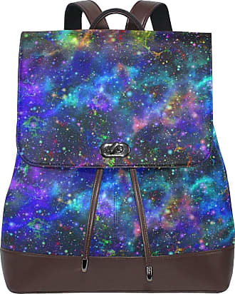 Ahomy Ladies Fashion PU Leather Backpack Universe Nebula Starry Galactic Anti-Theft Rucksack Shoulder Bag