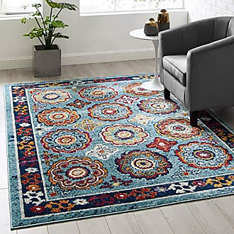 ModWay Odile Transitional Distressed Vintage Floral Moroccan Trellis Area Rug, 5x8, Blue, Red, Orange Yellow