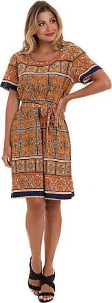 Kinara Vestido Crepe Estampado Laranja Kinara