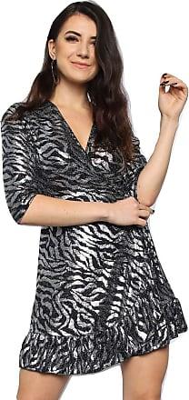 Momo & Ayat Fashions Ladies Metallic Zebra Skater Wrap Dress UK Size 8-14 (Back/Silver, UK 12 (EUR 40))