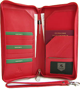 Visconti New Visconti soft red leather passport travel wallet organiser style Crimson 1157