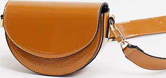 Topshop wide strap saddle bag in camel-Tan