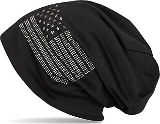 styleBREAKER Noble Beanie hat in USA Flag Design with Rhinestone Rivets, Unisex 04024042, Colour:Black