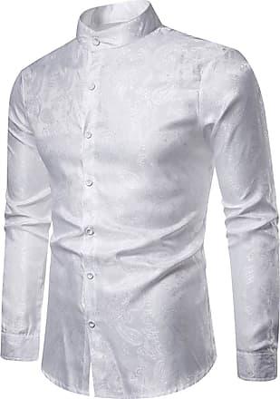 Whatlees Mens Vintage Long Sleeve Paisley Symmetric Design Dress Shirts Button Down White 02010200XWhite+XXL